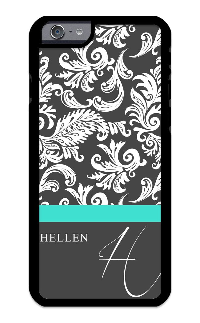 Custom Phone Case iPhone 7, iPhone 8 Case iZERCASE Monogram Personalized Damask with Thin Stripe Pattern Pattern for Apple iPhone 7, iPhone 8 (Turquoise)