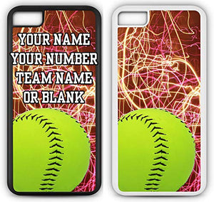 iPhone 8 Softball Case Fits iPhone 8 or iPhone 7 Make A Custom Design Cell Phone Case with Any Jersey Number Team Name in White Rubber S1085 by TYD Designs