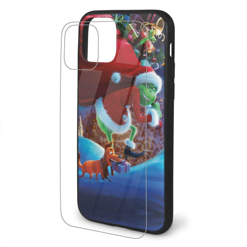 Zero The Grinch Sandy Claws iPhone 11/11 Pro/11 Pro Max Tempered Glass Phone Cover with Soft Silicone TPU Frame Custom Phone Cases
