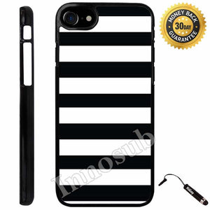 Custom iPhone 7 Case (Black White Bold Stripes) Edge-to-Edge Plastic Black Cover with Shock and Scratch Protection | Lightweight, Ultra-Slim | Includes Stylus Pen by Innosub