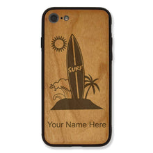 Load image into Gallery viewer, Case Compatible with iPhone 7 and iPhone 8, Surfboard, Personalized Engraving Included (Cherry Wood)