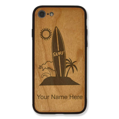 Case Compatible with iPhone 7 and iPhone 8, Surfboard, Personalized Engraving Included (Cherry Wood)