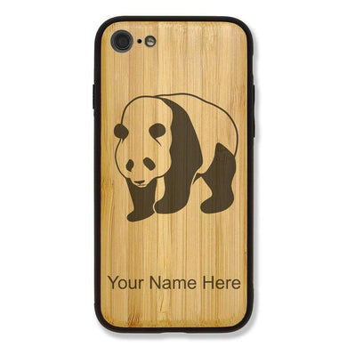 Case Compatible with iPhone 7 and iPhone 8, Panda Bear, Personalized Engraving Included (Bamboo)