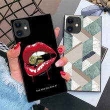 Load image into Gallery viewer, iPhone 11 2019 6.1 Inch Case Square Edge Case Heavy Duty Protection Shock Absorption Slim Soft TPU Cover Bullet in Lips Pattern for iPhone 11 6.1 Inch