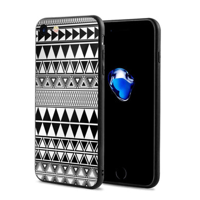 iPhone 7 iPhone 8 Personality Art Painting Black and White Geometric Seamless Borders Vector Image Custom Phone Case, iPhone 7/8 Popular Soft Rubber Case