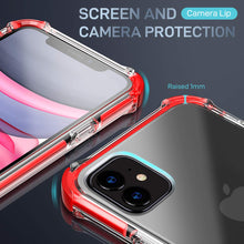 Load image into Gallery viewer, MATEPROX iPhone 11 Case Clear Heavy Duty Protective Crystal Back Cover with Shockproof Bumper Case for iPhone 11 2019 6.1(Red)