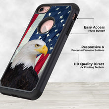 Load image into Gallery viewer, iPhone 8 Case,iPhone 7 Case,Rossy Heavy Duty Hybrid TPU Plastic Dual Layer Armor Defender Protection Case Cover for Apple iPhone 7 & 8 (4.7 inch),American Bald Eagle and USA Flag
