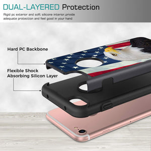 iPhone 8 Case,iPhone 7 Case,Rossy Heavy Duty Hybrid TPU Plastic Dual Layer Armor Defender Protection Case Cover for Apple iPhone 7 & 8 (4.7 inch),American Bald Eagle and USA Flag
