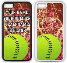 Load image into Gallery viewer, iPhone 8 Softball Case Fits iPhone 8 or iPhone 7 Make A Custom Design Cell Phone Case with Any Jersey Number Team Name in White Rubber S1085 by TYD Designs