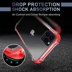 MATEPROX iPhone 11 Case Clear Heavy Duty Protective Crystal Back Cover with Shockproof Bumper Case for iPhone 11 2019 6.1(Red)