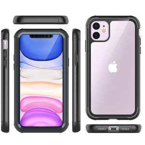 Temdan iPhone 11 Case,Full Body Built in Screen Protector Multi-Directional Bumper Case Support Wireless Charging, Heavy Duty Rugged Dropproof Cases for iPhone 11 6.1 inch 2019- (Black/Clear)