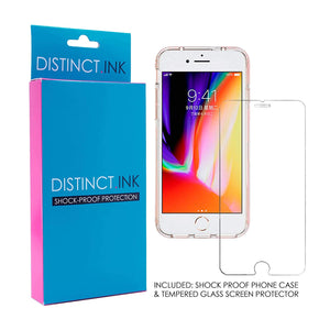 "DistinctInk Clear Shockproof Hybrid Case for iPhone 7 / iPhone 8 (4.7"" Screen) - TPU Bumper, Acrylic Back, Tempered Glass Screen Protector - Hakuna Matata"