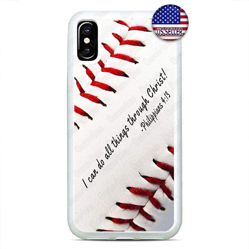 Baseball White Phone Case Bible Verse Slim Shockproof Hard Rubber Custom Case Cover for iPhone 11 Pro Max Xs XR 8 Plus