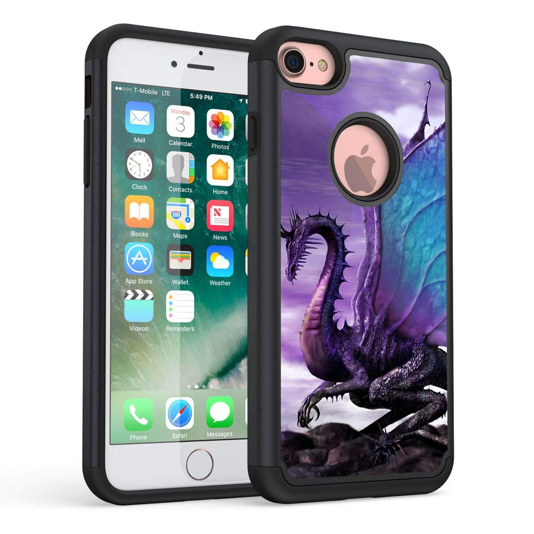 iPhone 8 Case,iPhone 7 Case,Rossy Heavy Duty Hybrid TPU Plastic Dual Layer Armor Defender Protection Case Cover for Apple iPhone 7 & 8 (4.7 inch),Purple Dragon