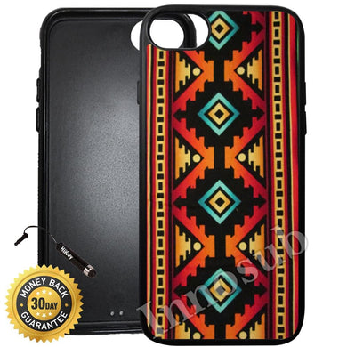 Custom iPhone 7 Case (Native American Tribal Pattern) Edge-to-Edge Rubber Black Cover with Shock and Scratch Protection | Lightweight, Ultra-Slim | Includes Stylus Pen by Innosub