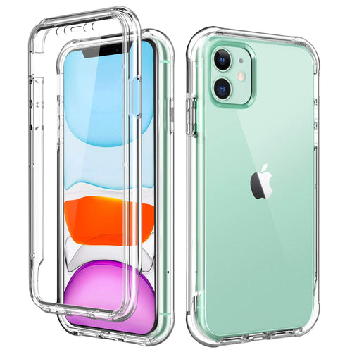 SKYLMW iPhone 11 Case 2019 6.1 inch,[Built in Screen Protector] Full Body Shockproof Dual Layer High Impact Protective Hard Plastic & Soft TPU with Phone Bumper Cover Cases for Women Men,Clear