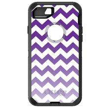 "Load image into Gallery viewer, DistinctInk Case for iPhone 7 / iPhone 8 (4.7"" Screen) - OtterBox Defender Black Custom Case - White Purple Fade Ombré Chevron Stripes"