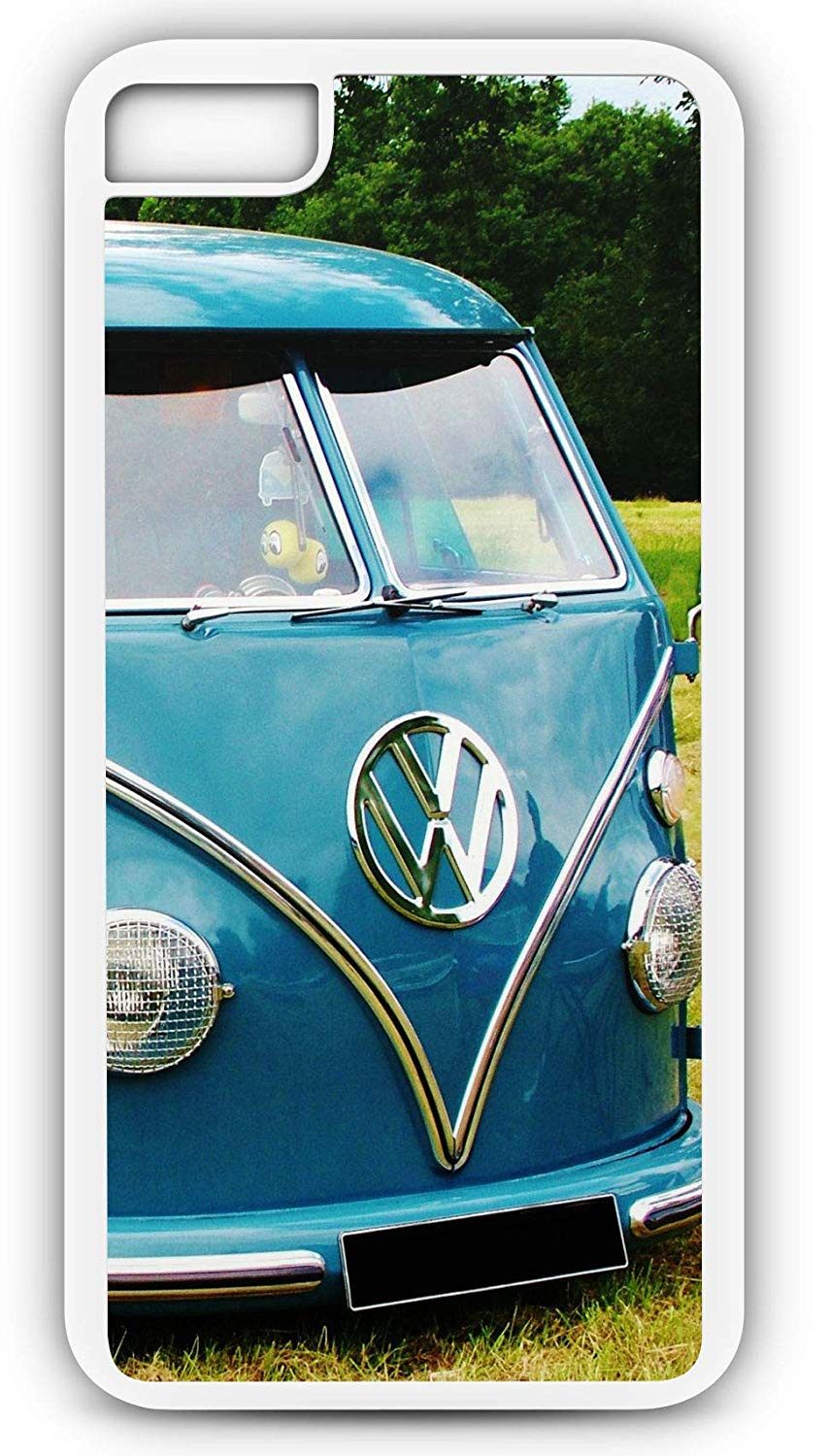 iPhone 8 Case Fits iPhone 8 or iPhone 7 Classic Blue VW Bus Van Antique Volkswagen 1600 cc 20173 White Rubber by TYD Designs