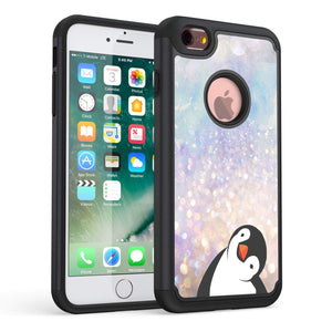 iPhone 7 Case,iPhone 8 Case, Rossy Heavy Duty Hybrid TPU Plastic Dual Layer Armor Defender Protection Case Cover for Apple iPhone 8 2017 / iPhone 7 2016,Black Crooked Neck Penguin