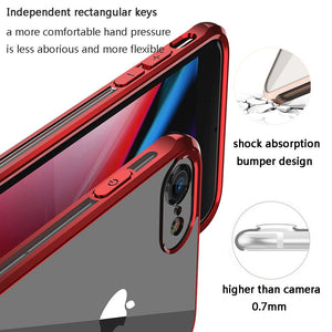 OTOFLY iPhone 8 Case,iPhone 7 Case,Ultra Slim Fit iPhone Case Crystal Clear Cover with Full Body Protection Anti-Scratch Shockproof Case Compatible with iPhone 7/8, [Electroplate Version] (Red)