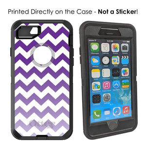 "DistinctInk Case for iPhone 7 / iPhone 8 (4.7"" Screen) - OtterBox Defender Black Custom Case - White Purple Fade Ombré Chevron Stripes"