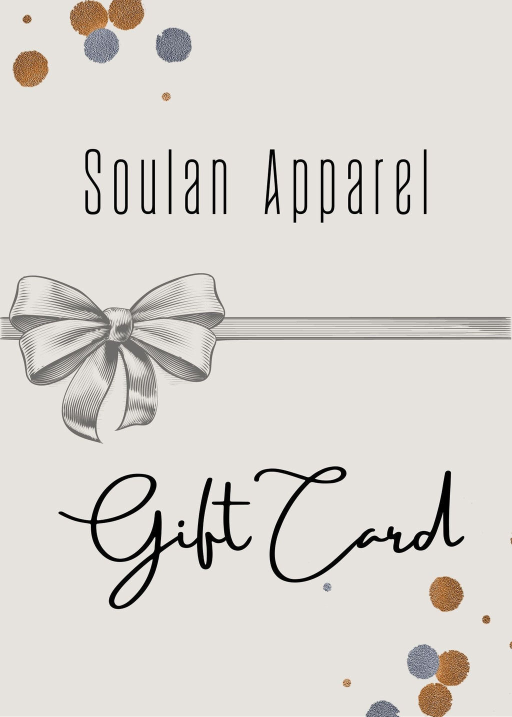 Gift Card. Soulan Apparel. Women's Online Boutique.