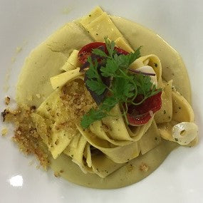 Golden Egg Pappardelle with Chili Peppers and Fava Bean Purée