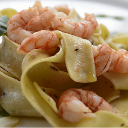 Pasta Sonoma Golden Egg Pappardelle with Prawns and Arugula Pesto