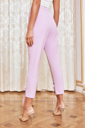 Eyelet Lace Up Trousers in Pastel Purple