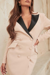 Contrast Blazer Dress With Satin Lapel in Clay