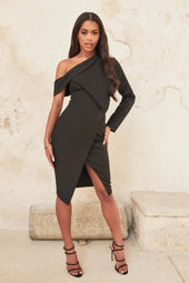 Folded Detail Wrap Midi Dress in Black