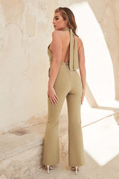 Tie Detail Open Back Jumpsuit in Sage Green