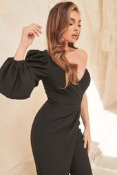 Balloon One Sleeve Wrap Jumpsuit in Black