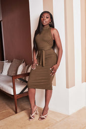 Patricia Bright High Neck Self Wrap Knit Midi Dress in Khaki