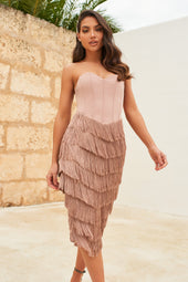 Corset Bandeau Fringe Midi Dress in Mink
