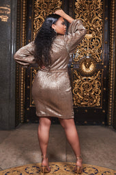 Ruby Holley Balloon Sleeve Pleated Sequin Mini Dress in Gold
