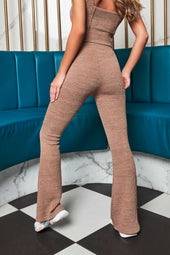 Patricia Bright Soft Knit Fit And Flare Trouser in Mink