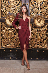 Pleated Waist One Sleeve Midi Dress in Burgundy