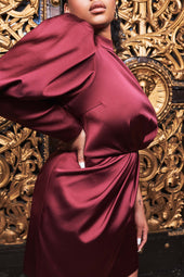 Satin Puff Sleeve Wrap Mini Dress in Burgundy