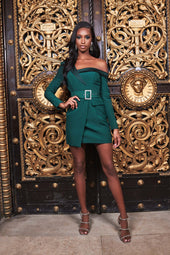 Off The Shoulder Tux Mini Dress in Forest Green