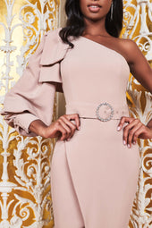 One Sleeve Wrap Midi With Bow Detail in Mink
