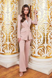 Ruby Holley Satin Mix Tailored Flared Trousers in Mink