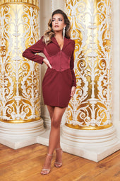 Ruby Holley Satin Mix Corset Blazer Mini Dress in Burgundy