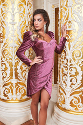 Ruby Holley Asymmetric Corset Dress in Diamante Rose Velvet