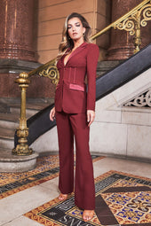 Full Length Fit And Flare Trousers in Burgundy