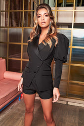 Puff Sleeve Satin Mix Longline Blazer in Black