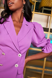 Balloon Sleeve Blazer in Purple