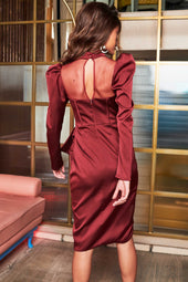 High Neck Satin Corset Midi Dress in Burgundy