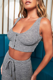 Patricia Bright Ribbed Corset Style Crop Top in Marl Grey