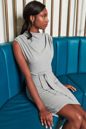 Patricia Bright High Cowl Neck Padded Jersey Midi Dress in Grey Marl